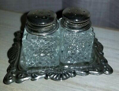 Vintage Mini Salt and Pepper Shaker Tray Set Crystal Silver Cut Glass Screw Caps