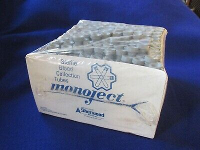 Case 100 Glass Test Tubes Grey Rubber Stoppers  Collection Tubes 1995