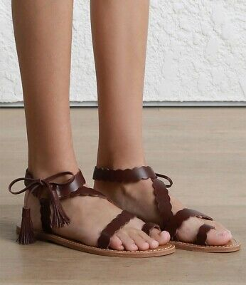 Zimmermann Leather Scallop Tie Flat Sandal Burgundy Size 37
