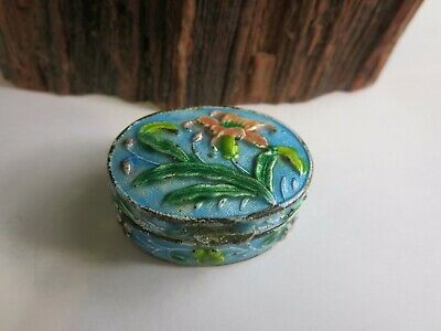 Vintage Chinese China Cloisonne Enamel Trinket Snuff Pill Box Repousse L3