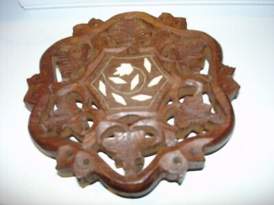 Hand Carved Sheesham Wood Footed Trivet w/ Inlay Leaves Owls India - 8 in + 2 Fr