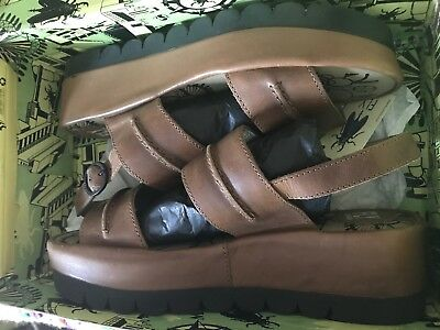 Fly London Womens Tan Leather Summer Sandals Wedge Size 42 Or 11 UK9