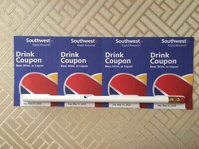 Southwest Airlines Drink Coupons - 4 Total - Fast Shipping - Expire May 31, 2020