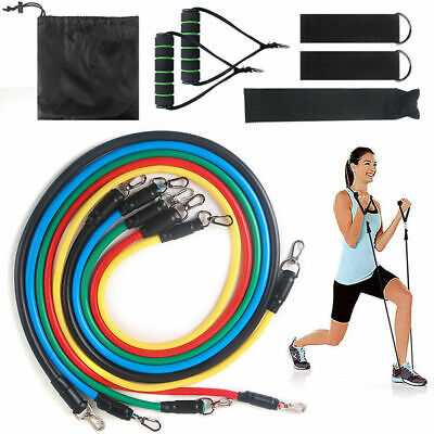 Resistance Bands Workout Exercise Yoga Crossfit Fitness Tubes 13 Pieces Set USA