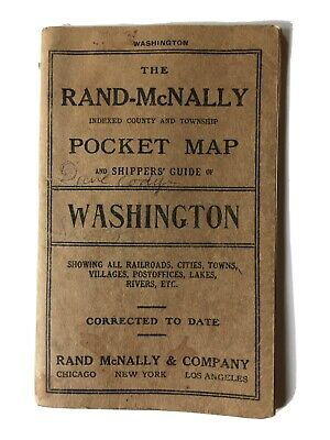 1912-Rand McNally-Washington State Pocket Map Guide-Showing Sts,Railway Systems