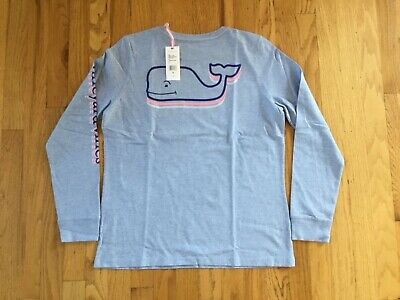 NWT Vineyard Vines Women's LS Hydrangea Heather Stacked Whale T-Shirt Small
