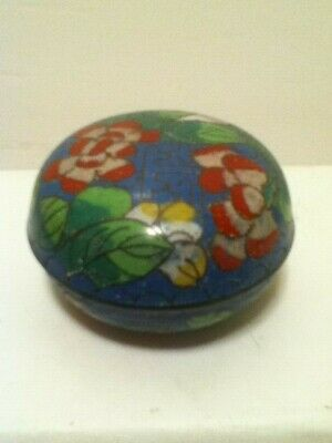Vintage Chinese Brass Cloisonne Trinket Box Blue With Flowers