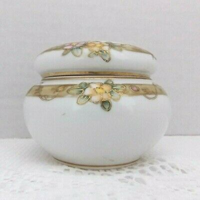 Nippon Handpainted Trinket Bowl with Lid Ceramic  Dresser Jar