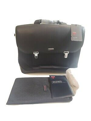 Tumi 'Formula T' Black Leather Briefcase With Dividers 2951DF MSRP $575
