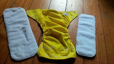 Super nice - FUZZIBUNZ Pocket Cloth Diaper -  YELLOW - adj. w. 2 inserts - Large