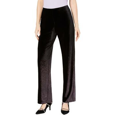 Alfani Womens Black Velvet Foil Pull On Wide Leg Pants XL BHFO 2764