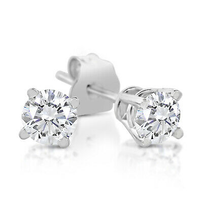 1/3ct tw Round Diamond Stud Earrings 14k White Gold