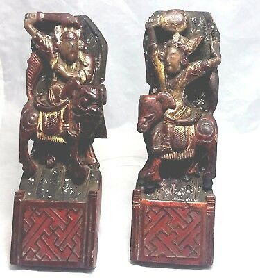 Chinese antique Mythological  Warriors Riders set of 4 hand carved wood