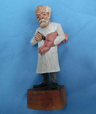 Jaschke Pretzl Carved Wood Caricature Medical Doctor & Baby Kinderarzt Sculpture