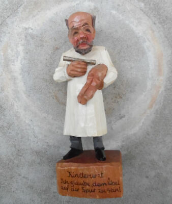 Jaschke Pretzl Caricature Carved Wood Baby Doctor Kinderarzt Sculpture,Germany