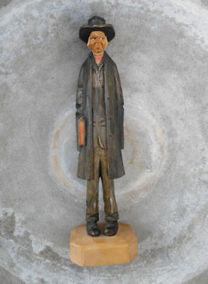Wood Caricature Tall Man W Hat Holding Book,Signed Che C.h. Eriksson  Norway