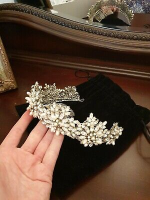 Stephanie Browne Swarovski Crystal And Pearl Tiara