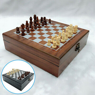 Large Chess Wooden Set Folding Chessboard Magnetic Pieces Wood Board New