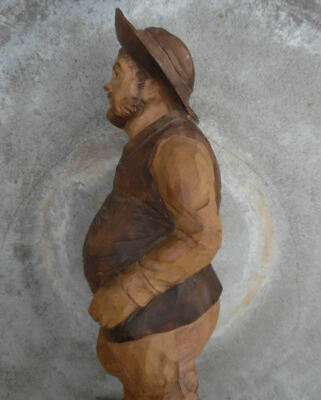 Mid Century Ouro Artesania Spain Expertly Carved Wood Sancho Panza Sculpture