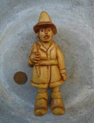 Vintage Hand Carved Wood Caricature Fireman Figure