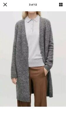 Mohair Wool COS Oversized Long Cardigan Knitted Open Front Stretchy L Uk 16/18