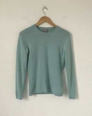 Pure Collection Women Jumper Size 10 Pale Green 100% Cashmere Crew Neck Long