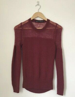 All Saints Women Jumper Size 4 Dark Red Mohair Mix Long Sleeve Cable Knit