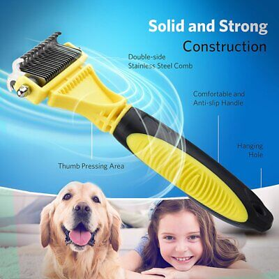 Double Side Cat Deshedding Dog Grooming Undercoat Brush Comb Rake Stripping Tool