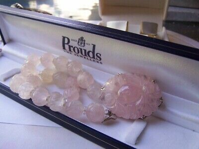 Antique Chinese Rose Quartz Necklace, Carved Centrepiece, Carved Beads Beautiful