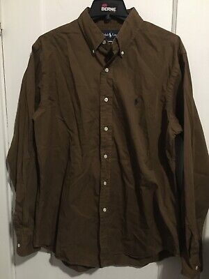 Ralph Lauren Long Sleeve Button Down Shirt Brown Mens Used Size L Classic Fit
