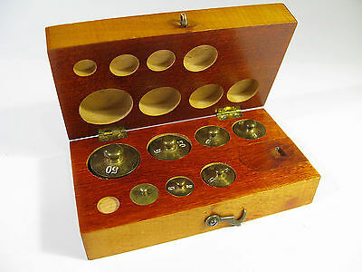 Antique Early 1900s Metric Weight set in Red Stained Maple Box.