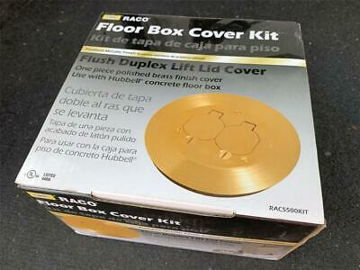 RACO Solid Brass Round Floor Box Cover Kit with Two Lift Lids for 5511 Floor Box
