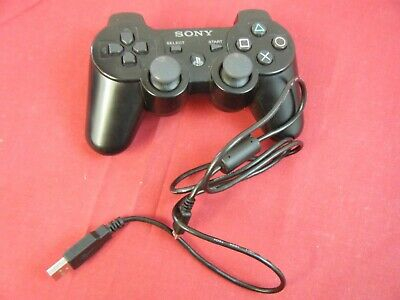 Black Sony Playstation 3 Wireless Dualshock 3 Sixaxis Controller With Cable