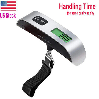 US Ship 110lb/50kg Portable Travel LCD Electronic Digital Hanging Luggage Scale