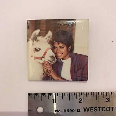 "Michael Jackson and Louie the Llama, Vintage 2"" Pin-Back Button VERY RARE"