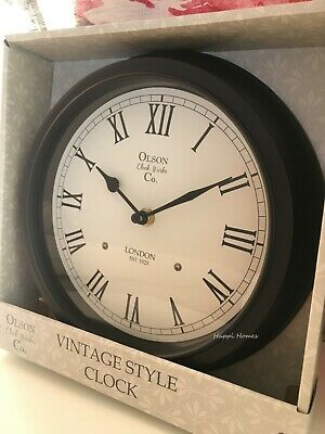 Vintage Style Wall Clock Roman Numeral Office Hallway Kitchen Dining Room Black