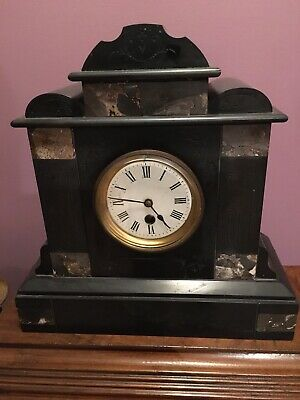 Victorian Antique French Marble, Slate Clock Working