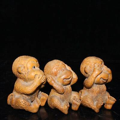 Collect China Old Boxwood Carve Lovely 3 Only Monkey Interesting Decorate Statue