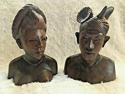 Hand Carved Pair of Wood Tribal Bust Sculptures of Woman and Man Vtg