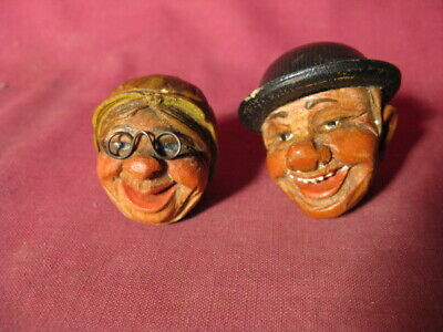 Lot 2 Antique / Vintage Black Forest Carved Wood Heads Man & Woman