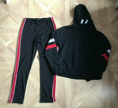 Size: Age 11-13 Years - Girls Black Jogging Bottoms & Jumper - Primark - VGC