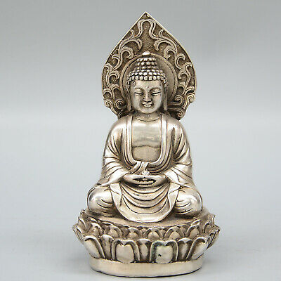 Collectable China Old Miao Silver Handwork Carve Buddha Lotus Auspicious Statue