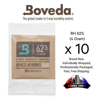 10-Pack Boveda RH 62% (4 Gram) Individually Wrapped + Fast, Free Shipping