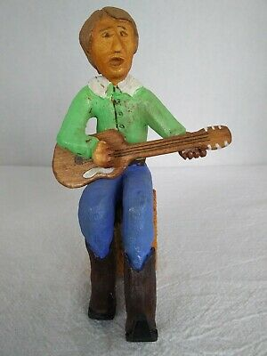 "Hand Carved Wood Cowboy Guitar Player * Hand Painted * 6"" Tall"