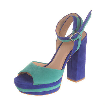 RRP €130 GUESS Leather Ankle Strap Sandals Size 37 UK 4 US 6.5 Heel Two Tone