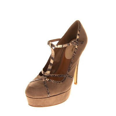 RRP €350 ALBERTO MORETTI T-Strap Court Shoes EU35 UK2 US5 Suede Effect High Heel