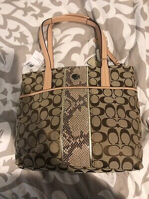 Coach Signature Python Stripe Tote Tan/Brown.   New With Tags.