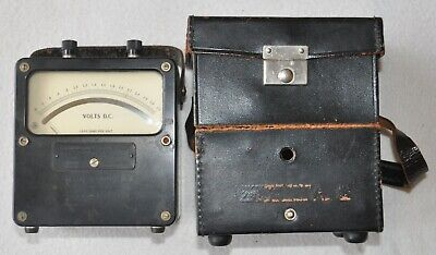 Vintage Weston Electrical Model 931 DC Volt Meter with Leather Case - 0-3 Volts
