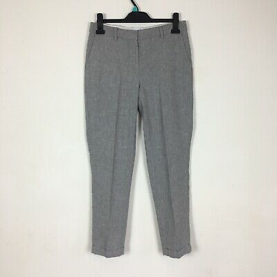 The White Company Grey Linen Blend Oxford Fit Smart Turn Up Trousers Size 10