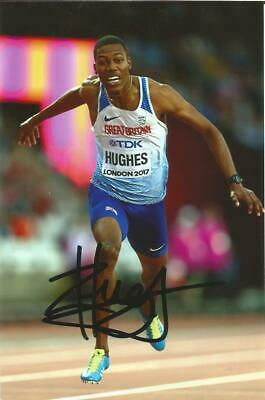 ATHLETICS: ZHARNEL HUGHES SIGNED 6x4 LONDON 2017 ACTION PHOTO+COA *TEAM GB*